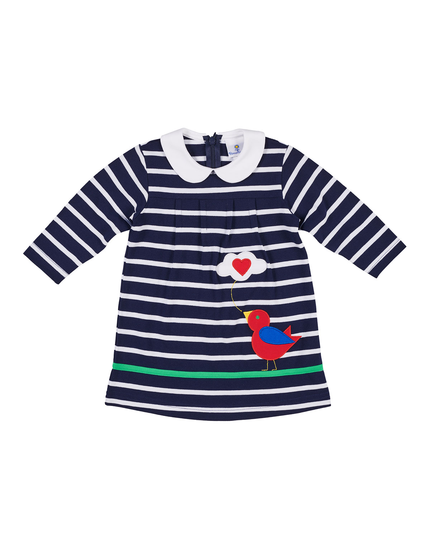 Bird Tweeting Striped Long-Sleeve Dress, Size 6-24 Months