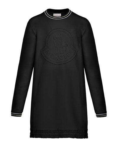 Striped-Trim Long-Sleeve Dress w/ Tonal Logo Embroidery, Size 4-6