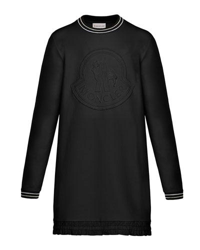 Striped-Trim Long-Sleeve Dress w/ Tonal Logo Embroidery, Size 8-14