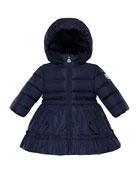 Moncler Vairea Ruffle-Trim Hooded Puffer Jacket, Size 12M-3