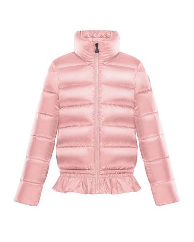 Anemonet Ruffle-Hem Quilted Puffer Jacket, Size 8-14