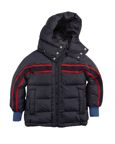 Richard Striped-Trim Quilted Jacket, Size 4-6