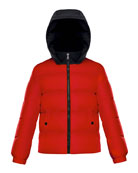Moncler Arthon Two-Tone Hooded Jacket, Size 8-14