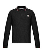 Moncler Long-Sleeve Polo w/ Striped Tipping, Size 8-14