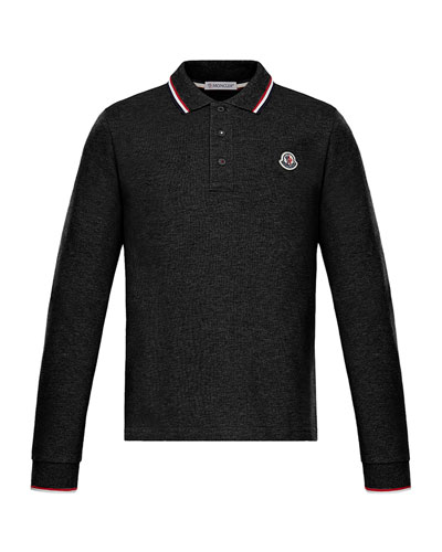 Long-Sleeve Polo w/ Striped Tipping, Size 8-14