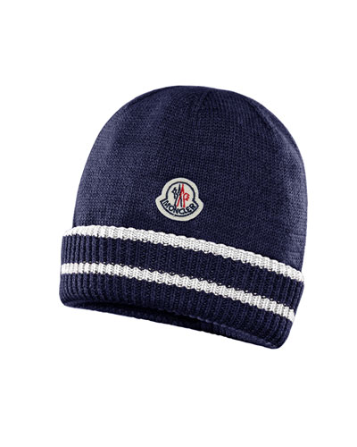 5e010687465 Quick Look. Moncler · Kids  Virgin Wool Striped-Cuff Beanie Hat. Available  in Blue