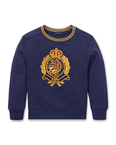 Logo Crest Embroidered Sweatshirt, Size 2-4