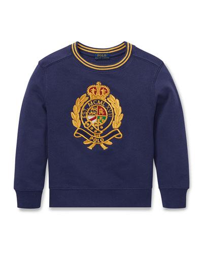 Logo Crest Embroidered Sweatshirt, Size 5-7