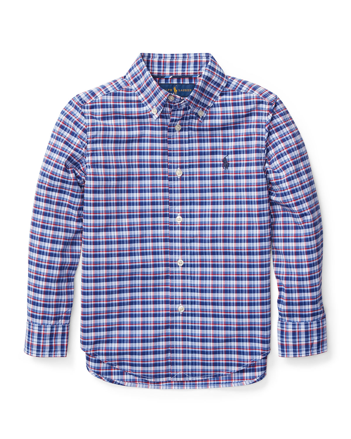 Long-Sleeve Plaid Button-Down Shirt, Size 5-7