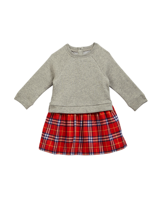 Francinie Sweatshirt & Plaid Skirt Dress, Size 6M-3