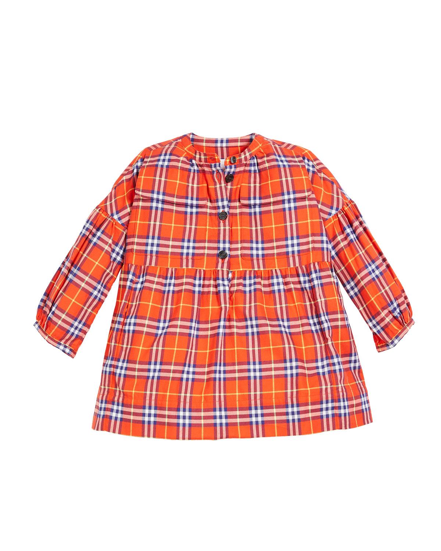 Marna Check Puff-Sleeve Dress, Size 4-14
