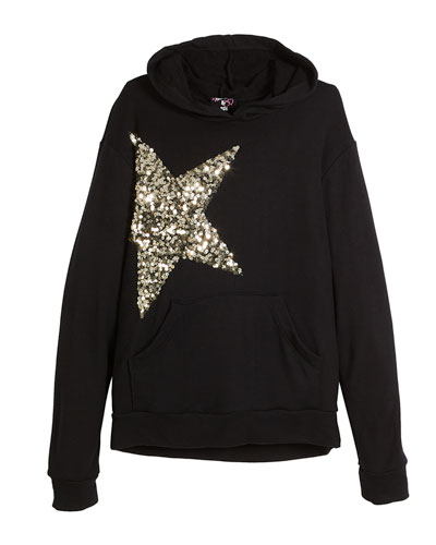 Long-Sleeve Hoodie w/ Sequin Star, Size S-XL