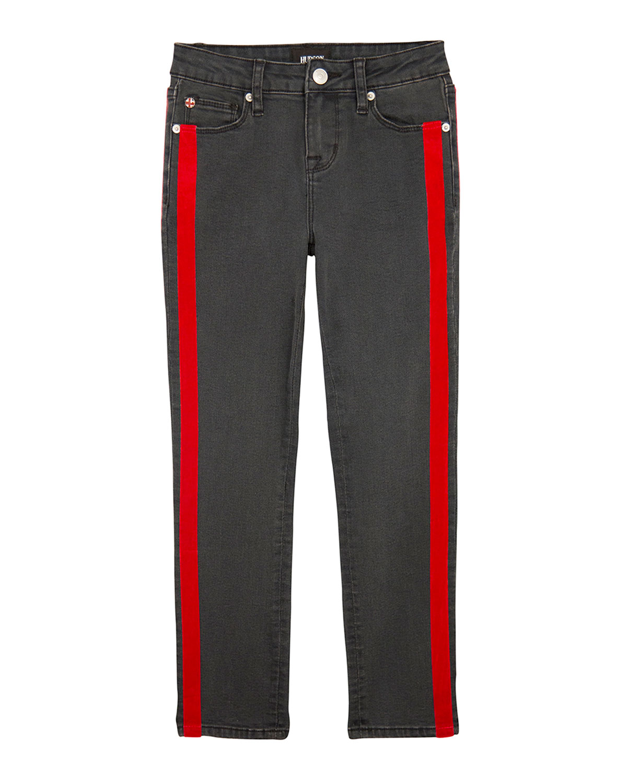 Keira Skinny Denim Jeans w/ Velvet Tape Trim, Size 7-16