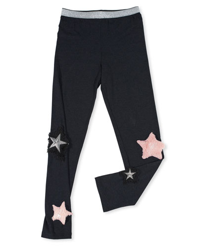 Stretch Leggings w/ Faux-Fur Star Patches, Size 7-14