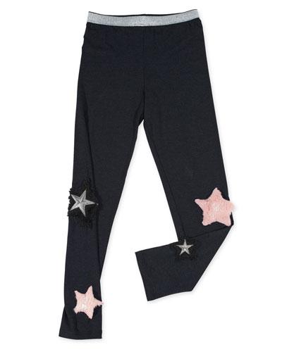 Stretch Leggings w/ Faux-Fur Star Patches, Size 4-6X