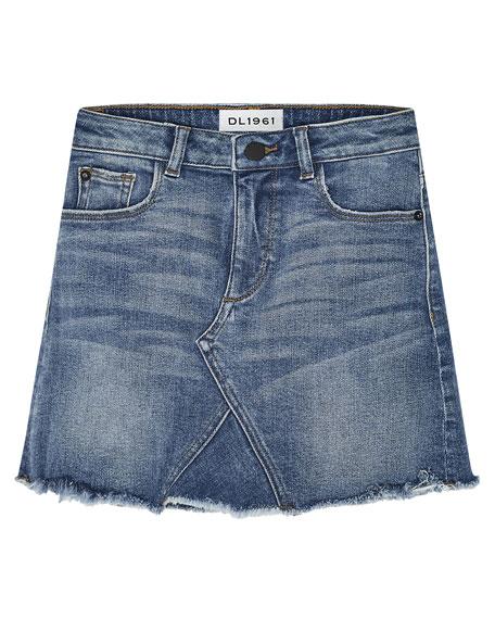 DL1961 Premium Denim Girls' Jenny Raw-Edge Denim Mini Skirt, Size 7-16