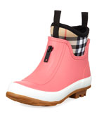 Burberry Flinton Short Rubber Rain Boots w/ Check