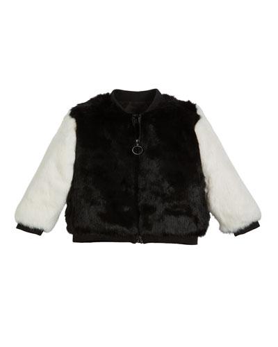 Two-Tone Fur Varsity Jacket, Size 4-12