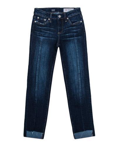 Girls' Maddie Step-Hem Straight-Leg Front-Seam Jeans, Size 7-14