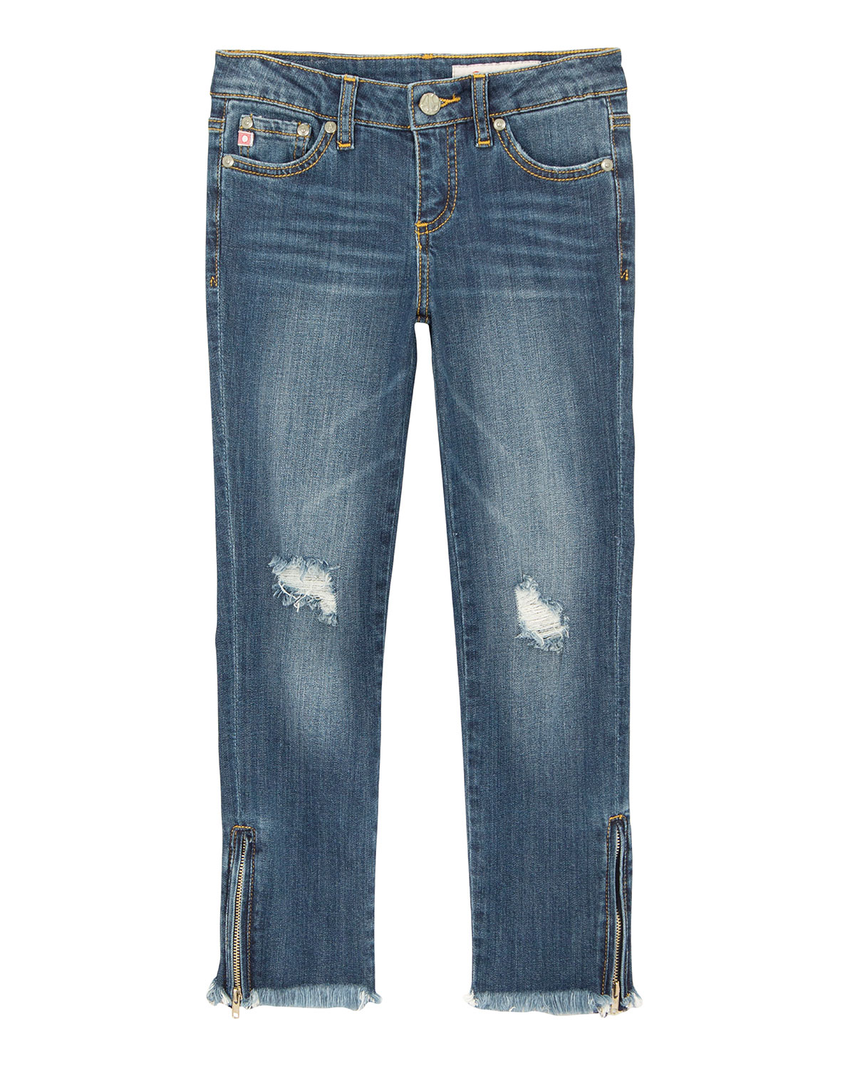 Farren Distressed Raw-Hem Embroidered Jeans w/ Zip Ankles, Size 7-14