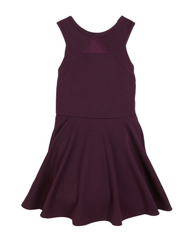 Justine Mesh-Insert Sleeveless Dress, Size S-XL