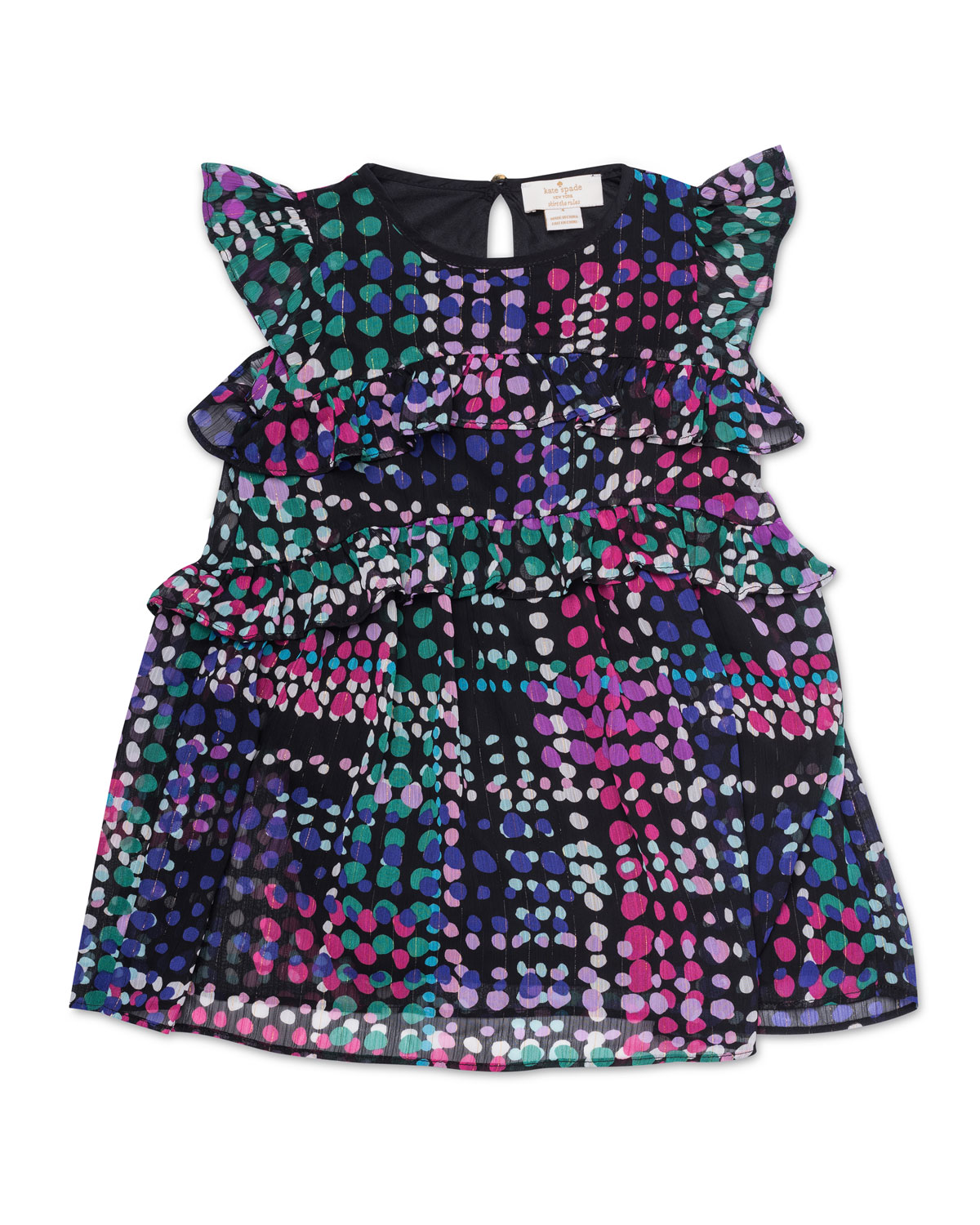 spots-print tiered ruffle dress, size 2-6x