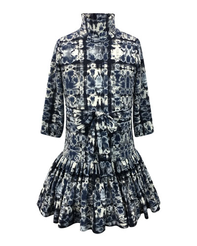 Knit Turtleneck Dress w/ Pleated Drop Waist, Size 7-14