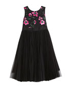 Milly Minis Tulle & Floral Embroidered Dress, Size