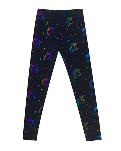 Rainbow Unicorn Foil-Print Leggings, Size 7-16