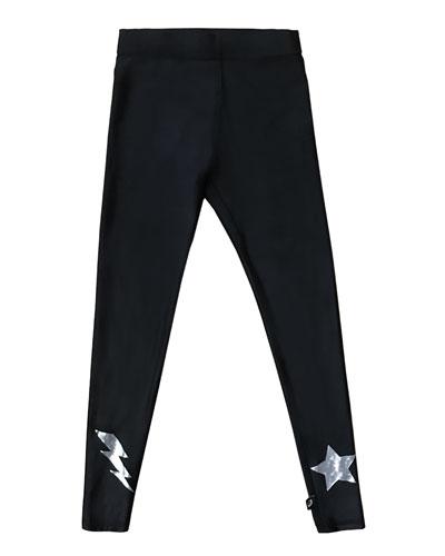 Hologram Star & Lightning Bolt Foil Leggings, Size 7-16