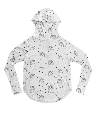 Unicorn Foil-Print Hoodie, Size 7-16