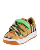 Burberry Groves Low-Top Check Sneakers w/ Contrast Grip