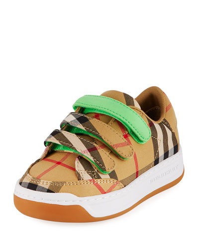 Groves Low-Top Check Sneakers w/ Contrast Grip Strap, Toddler