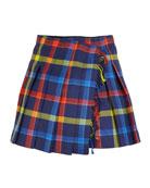 Burberry Klorriana Wool Pleated Plaid Skirt, Size 4-14