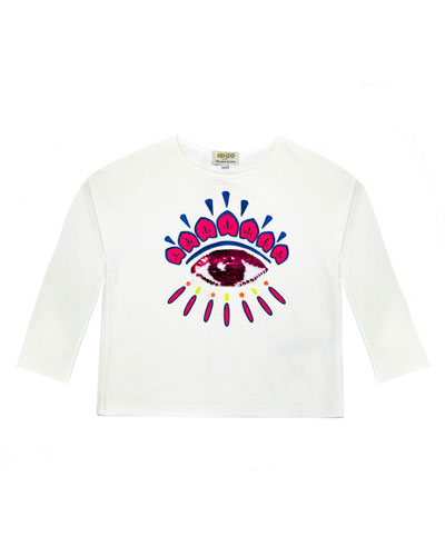 Long-Sleeve Flip Sequin Eye T-Shirt, Size 8-12