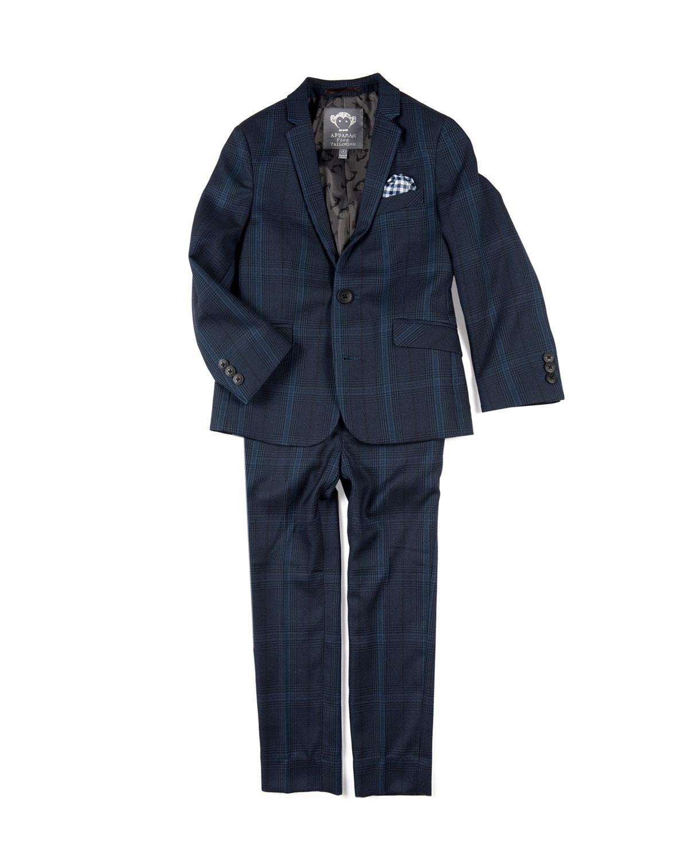 Boys TwoPiece Mod Glen Plaid Suit w Gingham Pocket Square 416