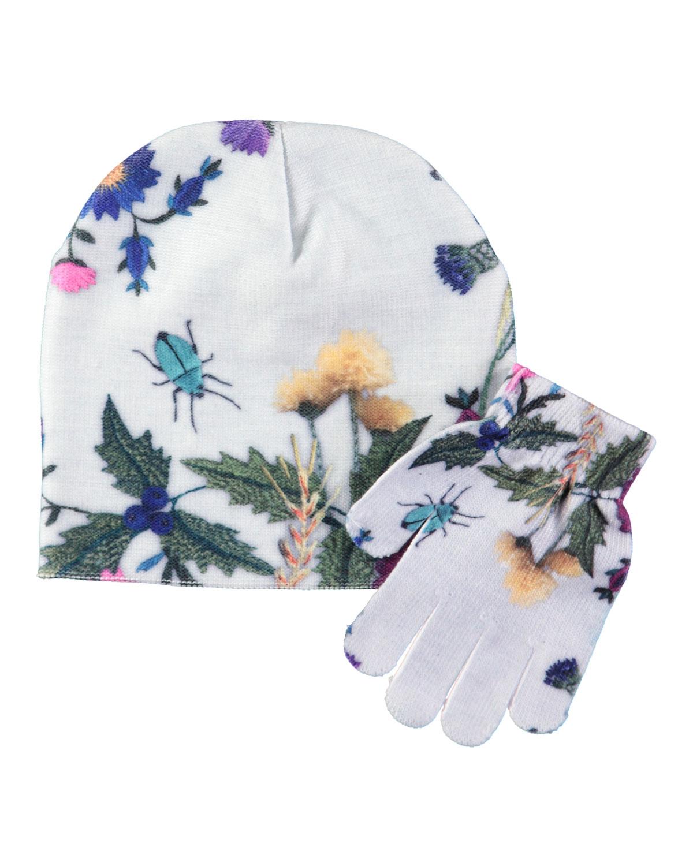 Kaya Bugs Floral-Print Hat & Gloves Set