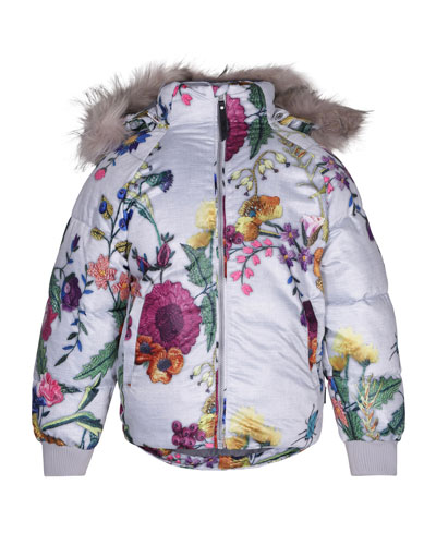 Henrika Floral-Print Coat, Size 3-10