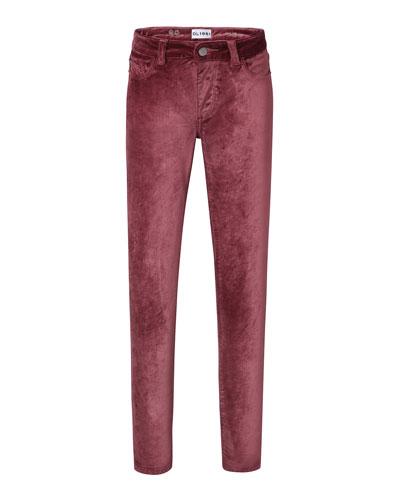 Chloe Straight-Leg Velvet Pants, Size 7-16
