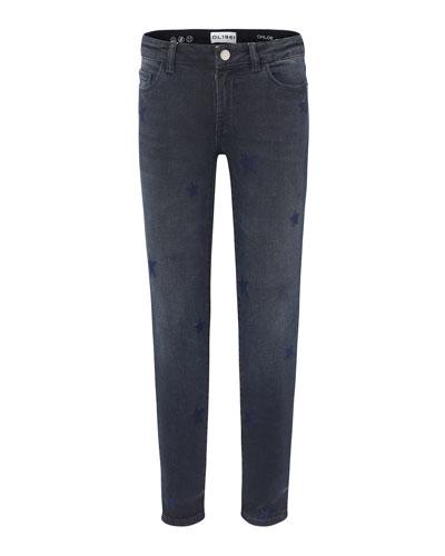 Chloe Dark Wash Star Embroidered Denim Jeans, Size 7-16