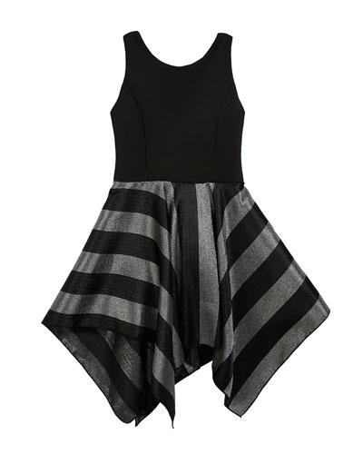 Presley Knit Dress w/ Metallic Stripe Skirt, Size 4-6X