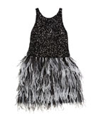 Zoe Harlow Sequin Dress w/ Two-Tone Feather Skirt,
