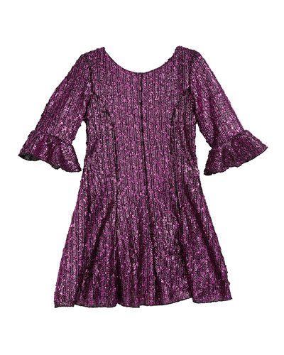 Viv Boucle Knit Fir-and-Flare Bell-Sleeve Dress, Size 4-6X