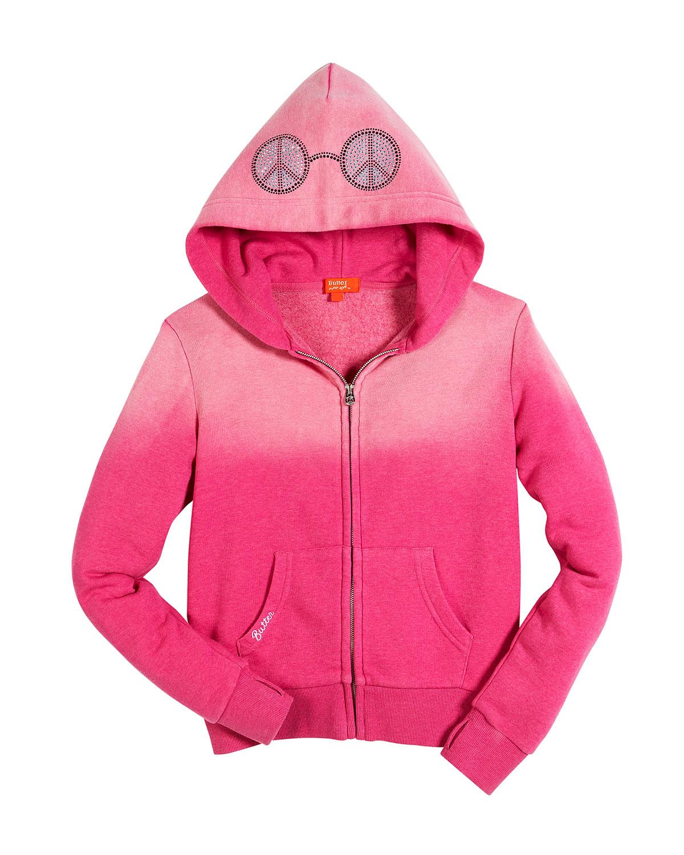 Peace & Music Burnout Fleece Zip Hoodie, Size 4-6