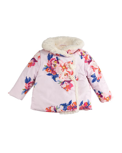 Fleecey Floral Hooded Jacket, Size 6-24 Months
