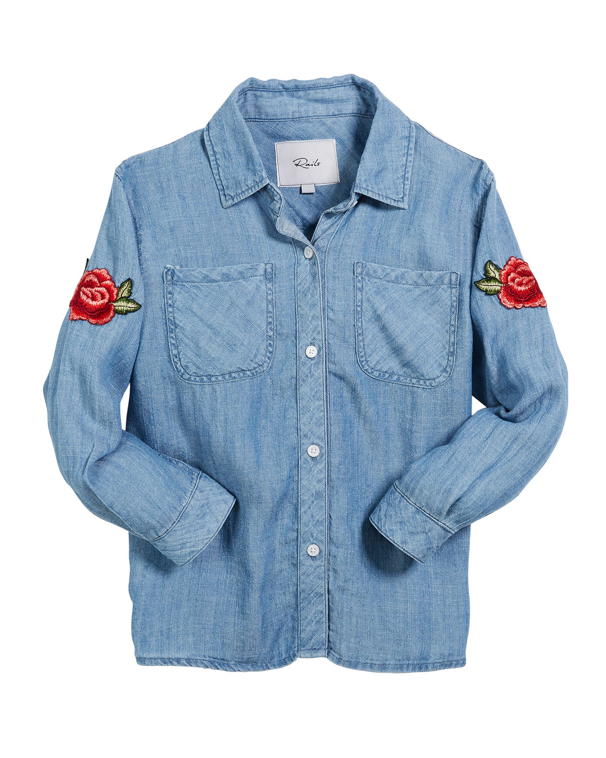 Little Carter Denim Top w/ Rose Patches, Size 6-14