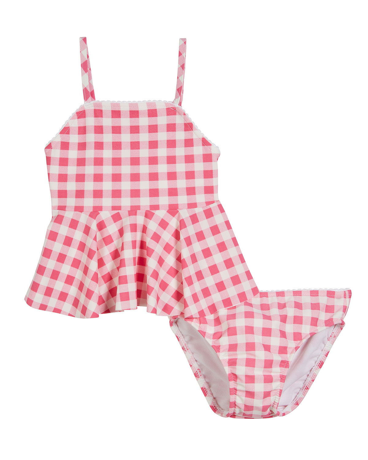 Two-Piece Seersucker Gingham Swimsuit, Size 9-24 Months