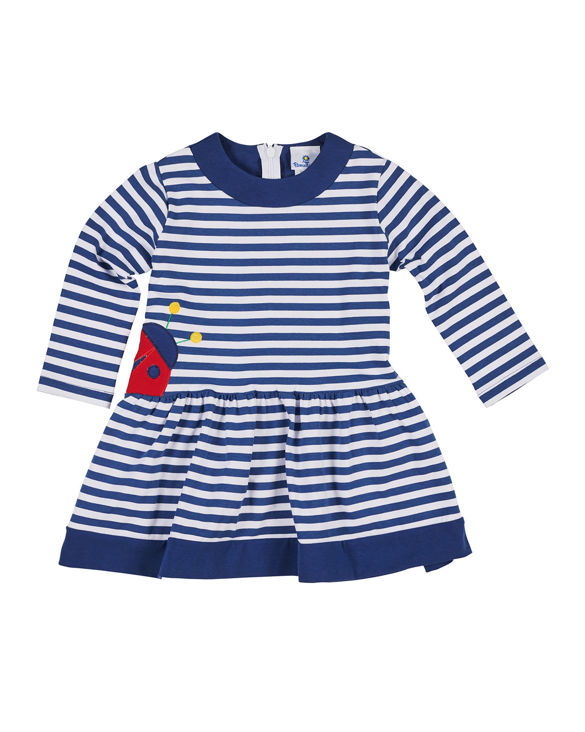 Striped Long-Sleeve Dress w/ Ladybug Applique, Size 2-6X