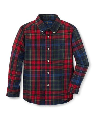 Twill Plaid Button-Down Shirt, Size 2-4