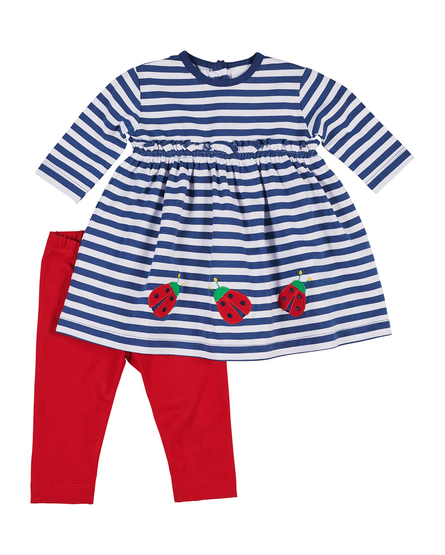 Striped Ladybug Dress w Bow Leggings Size 624 Months